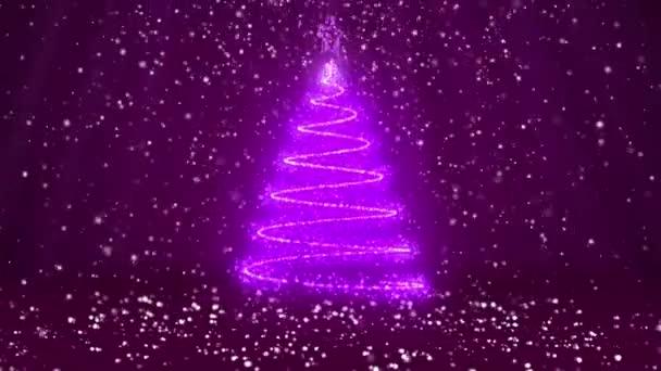 Winterthema für Weihnachten oder Neujahr Hintergrund mit Kopierraum. Nahaufnahme des Weihnachtsbaums aus glänzenden Partikeln in der Mitte des Rahmens. lila 3D-Weihnachtsbaum v1 mit Schnee dof Lichtstrahlen rotierenden Raum