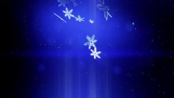 dekorativní 3d vločky létat ve vzduchu v noci na modrém pozadí. Použít jako animovaný vánoční, novoroční přání nebo zimní prostředí s zářivé sněhové vločky, odlesk objektivu, bokeh. Sněhová vločka V3.
