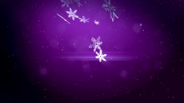 dekorativní 3d vločky vznášet ve vzduchu na fialovém pozadí. Použít jako animovaný vánoční, novoroční přání nebo zimní prostředí s zářivé sněhové vločky, odlesk objektivu, bokeh. Sněhová vločka V3.