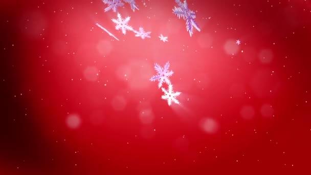 dekorativní 3d sněhové vločky padají na červeném pozadí. Použít jako animovaný vánoční, novoroční přání nebo zimní prostředí s zářivé sněhové vločky, odlesk objektivu, bokeh. Sněhová vločka V3.