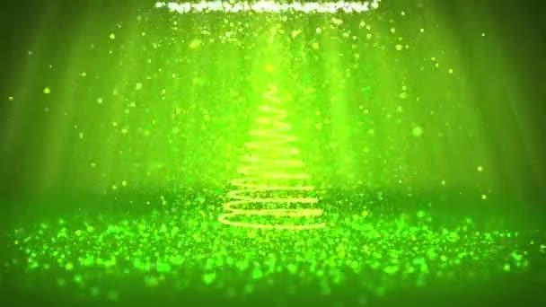 Širokoúhlý záběr zimní téma pro vánoční nebo novoroční pozadí s kopie prostoru. Vánoční strom z částic v polovině snímku. Zelená 3d vánoční strom V6 s třpytkami částice Dof světelné paprsky