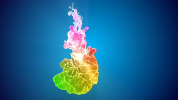Barevné 3d tok hustý inkoust založit ve vodě v pomalém pohybu na modrém pozadí. Použít jako pozadí, efekty inkoust na luma podkladu jako alfa kanál. Duhový přechod s podsvícením jsou barvy inkoustu. V11
