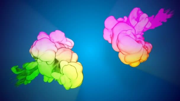 Barevné 3d tok hustý inkoust založit ve vodě v pomalém pohybu na modrém pozadí. Duhový přechod s podsvícením jsou barvy inkoustu. Použít jako pozadí, efekty inkoust na luma podkladu jako alfa kanál. V26