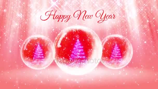 Lichtkomposition für Neujahr mit 3D-Weihnachtsbaum aus Glitzerpartikeln und funkelt in Schneekugel oder Schneeball. mit Strahlen wie Polarlichtern und Schneefall auf rosa Hintergrund. v3