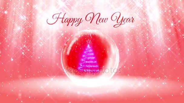 Lichtkomposition für Neujahr mit 3D-Weihnachtsbaum aus Glitzerpartikeln und funkelt in Schneekugel oder Schneeball. mit Strahlen wie Polarlichtern und Schneefall auf rosa Hintergrund. v12