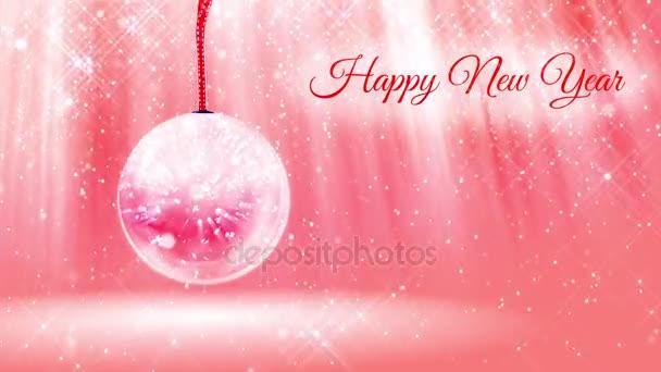 Lichtkomposition für das neue Jahr mit Schnee aus Glitzerpartikeln und Funkeln in Schneekugel oder Schneeball. mit Strahlen wie Polarlichtern und Schneefall auf rosa Hintergrund. v18