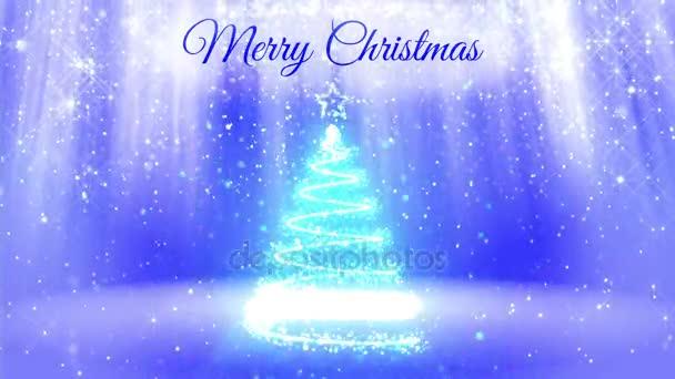 lehké složení pro veselé vánoční pozadí s 3d vánoční stromeček třpytky částic, jiskří hvězdy. S paprsky jako aurora borealis a sněžení na modrém pozadí. V1