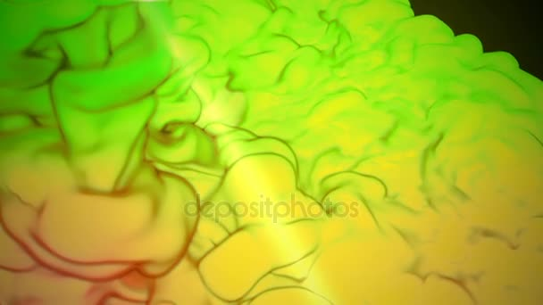 3D animation of flow of yellow green ink inject in water in slow motion on dark green background. Use as ink background or ink effects on luma matte as alpha channel. V14