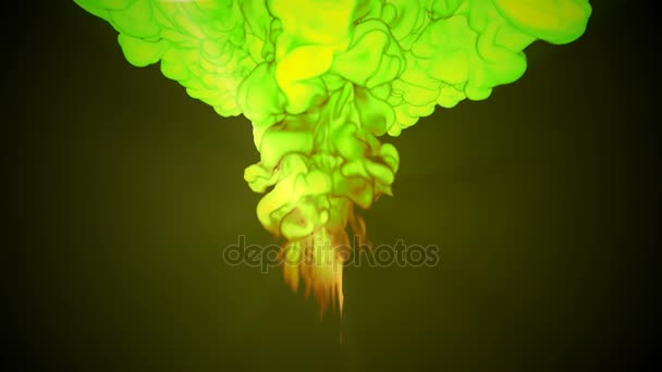 3D animation of flow of yellow green ink inject in water in slow motion on dark green background. Use as ink background or ink effects on luma matte as alpha channel. V22