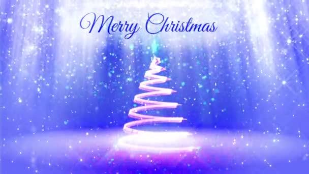 lehké složení pro veselé vánoční pozadí s 3d vánoční stromeček třpytky částic, jiskří hvězdy. S paprsky jako aurora borealis a sněžení na modrém pozadí. V3