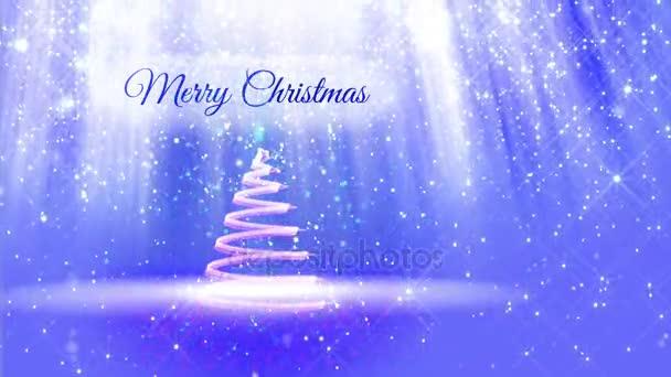 lehké složení pro veselé vánoční pozadí s 3d vánoční stromeček třpytky částic, jiskří hvězdy. S paprsky jako aurora borealis a sněžení na modrém pozadí. V4