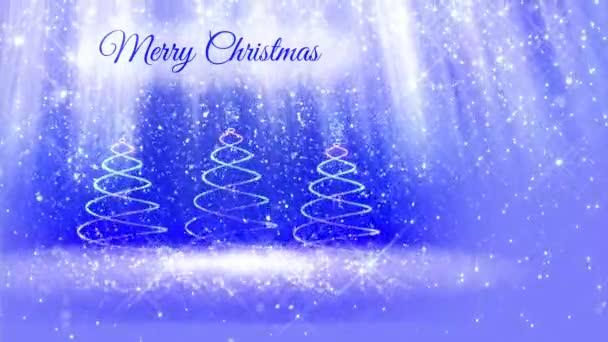 lehké složení pro veselé vánoční pozadí s třemi 3d vánoční stromeček třpytky částic, jiskří hvězdy. S paprsky jako aurora borealis a sněžení na modrém pozadí. V2