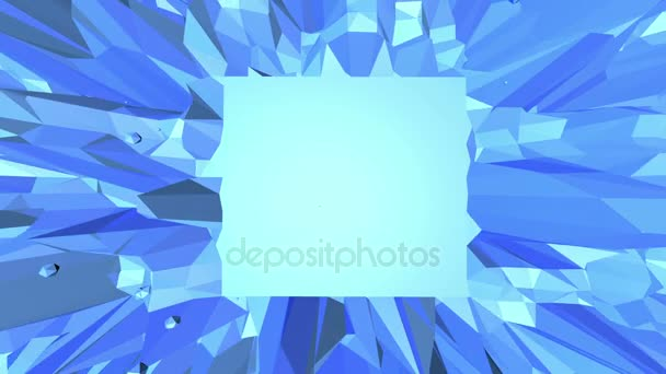 Blue low poly plastic surface as psychedelic background. Blue polygonal geometric plastic environment or pulsating background in cartoon low poly popular modern stylish 3D design.. Free space