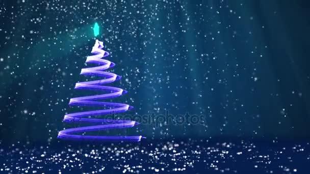 Bleu Grand Sapin De Noel De Lueur Brillantes Particules Sur Le Cote Gauche De L Ecran Theme Hiver Pour Fond De Noel Avec L Espace De La Copie Arbre De Noel 3d V7 Avec Particules De Paillettes Dof