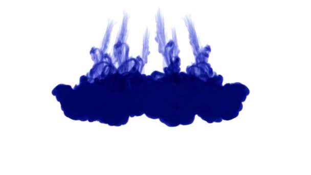 A lot of flows of isolated blue ink injects. Blue paint clouds in water , shot in slow motion. Use for inky background or backdrop with smoke or ink effects, alpha channel is on use for it luma matte