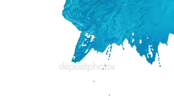 Un flusso di liquido blu molto bella simile a sciroppo di zucchero o limonata o acqua cade sullo schermo. Girato in slow motion, con canale alfa come mascherino luminanza. Ver1 acqua