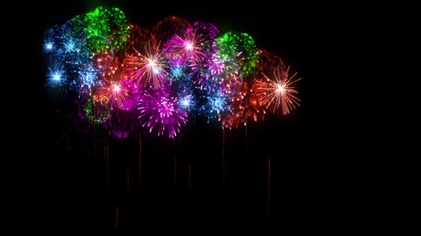 Multi colored fireworks as holidays background for New Year, Christmas or other celebration. 3d animation pyrotechnic light show. Firecrackers show are isolated on black for compositing.4