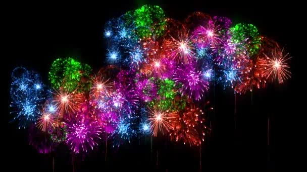 Multi colored fireworks as holidays background for New Year, Christmas or other celebration. 3d animation pyrotechnic light show. Firecrackers show are isolated on black for compositing.5