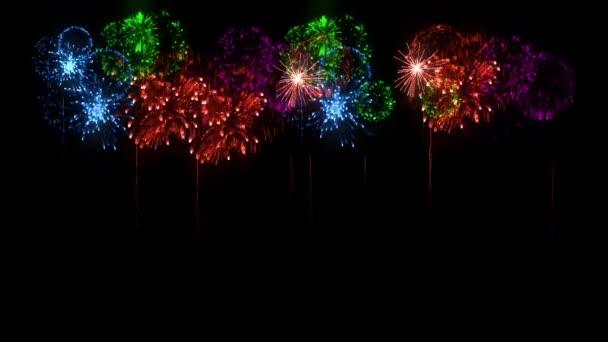 Multi barevné ohňostroje jako svátky pozadí pro nový rok, Vánoce a jiné oslavy. 3D animace pyrotechnické světelnou show. Dělbuchy show jsou izolovány na černou pro compositing.8