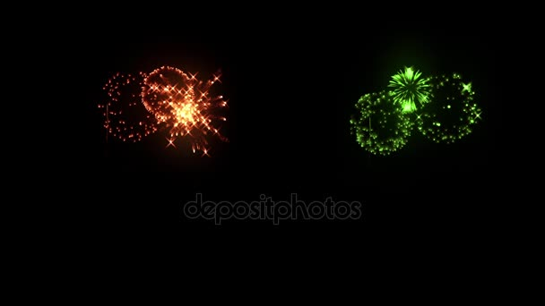 Multi barevné ohňostroje jako svátky pozadí pro nový rok, Vánoce a jiné oslavy. Multi-barevné žabky Ukázat jsou izolovány na černém pozadí. 3D animace pyrotechnické světelnou show. 13
