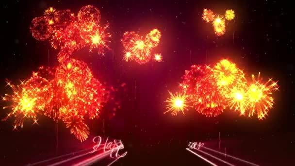 Krásné červené oranžové ohňostroje s laserem Ukázat na zimní noční oblohy v předvečer nového roku. Bohatý ohňostroj jako svátky pozadí pro nový rok a Vánoce. 3D animace pyrotechnické světelnou show s snow.18