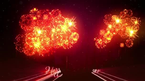 Gyönyörű vörös narancs fireworks, lézerrel mutatják a téli éjszaka ég az új év előestéjén. Gazdag tűzijáték Szilveszter vagy a karácsonyi ünnepek háttérként. 3D animáció pirotechnikai fény show-val snow.22
