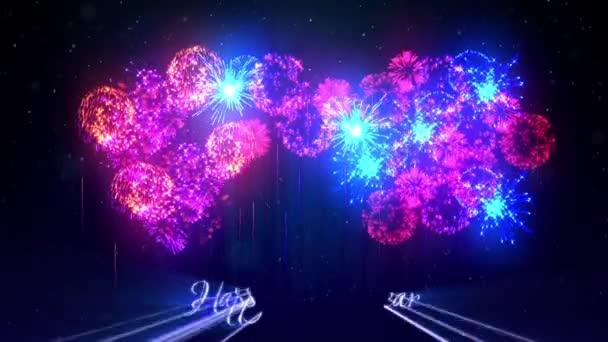 Více krásné barevné ohňostroje s laserovou show na zimní noční oblohy v předvečer nového roku. Bohatý ohňostroj jako svátky pozadí pro nový rok a Vánoce. 3D animace pyrotechnické světelnou show s snow.3