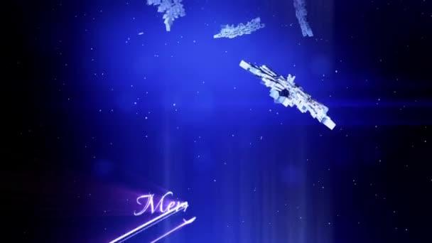 krásné 3d pokryje v noci na modrém pozadí. Použít jako animovaný vánoční, novoroční přání nebo zimní prostředí s velkými sněhové vločky, odlesk objektivu, bokeh. Sněhová vločka V5