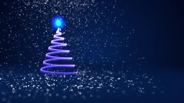 Modré vánoční strom záře lesklé částice na levé straně v široký úhel natáčení. Zimní téma pro Vánoce nebo nový rok pozadí s kopie prostoru. 3D vánoční strom V7 se sněhem Dof