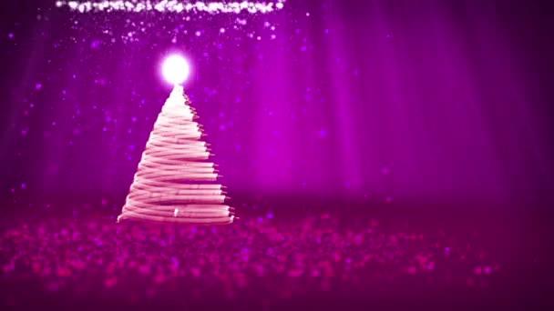 lila Weihnachtsbaum aus leuchtenden Glanzpartikeln auf der linken Seite. Winterthema für Weihnachten Hintergrund mit Kopierraum. 3D-Weihnachtsbaum v9 mit Glitzerpartikeln dof Lichtstrahlen