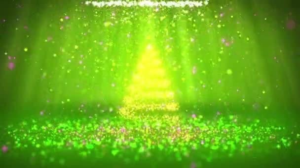 Širokoúhlý záběr zimní téma pro vánoční nebo novoroční pozadí s kopie prostoru. Vánoční strom z částic v polovině snímku. Zelená 3d vánoční strom V2 s třpytkami částice Dof světelné paprsky