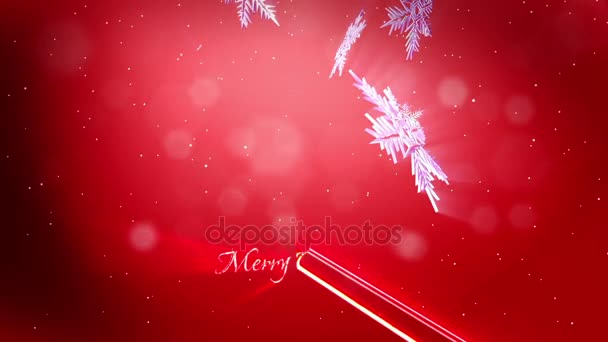 shining 3d snowflakes fall on a red background use as animated