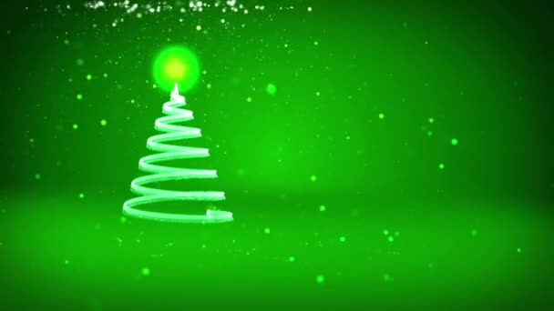 Green Christmas tree from glow shiny particles on the left in wide angle shoot. Winter theme for Xmas background with copy space. 3d Xmas tree V7 with glitter particles DOF rotating space