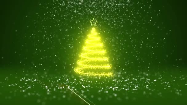 Wide angle shot of winter theme for Christmas or New Year background with copy space. Xmas tree from glow shiny particles in mid-frame. Green 3d Xmas tree V1 with snow DOF..