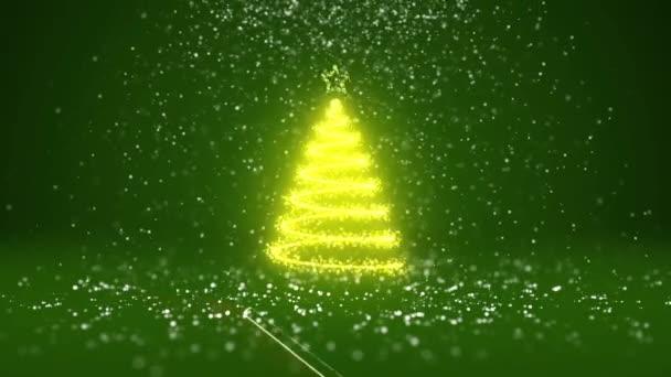Širokoúhlý záběr zimní téma pro vánoční nebo novoroční pozadí s kopie prostoru. Vánoční strom záře lesklé částice v polovině snímku. Zelená 3d vánoční strom V1 s sníh Dof