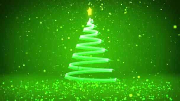 Zimní téma pro vánoční nebo novoroční pozadí s kopie prostoru. Detail vánoční strom z částic v polovině snímku. Zelená 3d vánoční strom V7 s třpytkami částice Dof