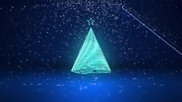 Širokoúhlý záběr zimní téma pro vánoční nebo novoroční pozadí s kopie prostoru. Vánoční strom záře lesklé částice v polovině snímku. Modrá 3d vánoční strom V3 se sněhem Dof rotující prostor