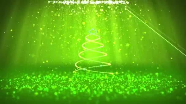 Széles szög lövés téli témája a karácsony vagy újév háttér-val másol hely. Xmas fa részecskék Közép keretben. 3D-s karácsony fa V4 Green csillogó részecskéket Dof fénysugarak forgó tér