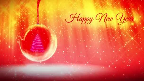 skladba pro nový rok s 3d vánoční stromek zářící částice a jiskří v snowglobe nebo sněhová koule. S paprsky jako aurora borealis a sněžení na červeno oranžové pozadí. V12