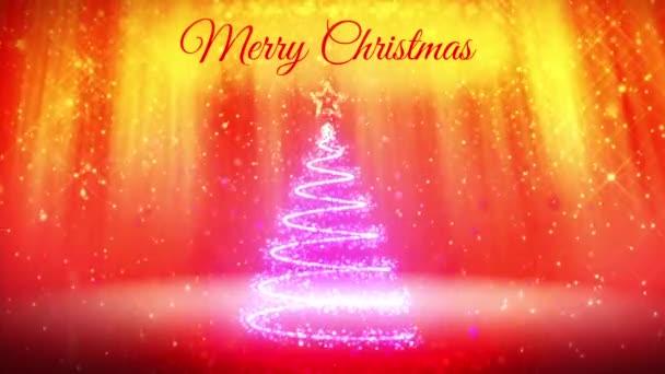 skladba pro nový rok nebo vánoční svátky s 3d vánoční stromek zářící částice a jiskří. Světelné paprsky a sněžení na červené pozadí. V1