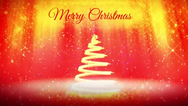 skladba pro nový rok nebo vánoční svátky s 3d vánoční stromek zářící částice a jiskří. Světelné paprsky a sněžení na červené pozadí. V4