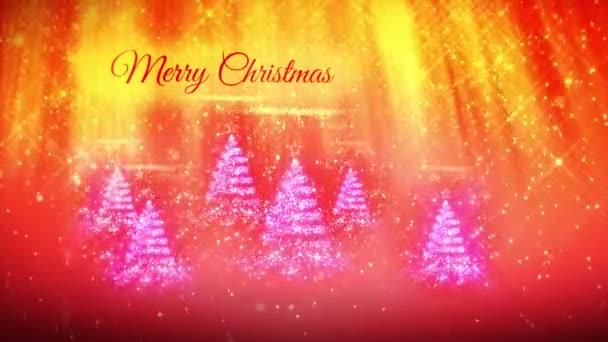 skladba pro nový rok nebo vánoční svátky s 3d vánoční stromek zářící částice a jiskří. Světelné paprsky a sněžení na červené pozadí. V9