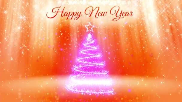 Új év vagy a karácsonyi ünnepekre 3d karácsonyfa izzó részecskék és szikrák összetétele. A fénysugarak és a havazás, a sárga-narancssárga háttérrel. V1