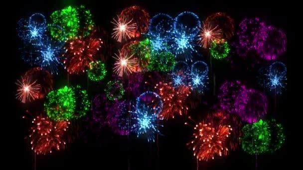 Multi barevné ohňostroje jako svátky pozadí pro nový rok, Vánoce a jiné oslavy. 3D animace pyrotechnické světelnou show. Dělbuchy show jsou izolovány na černou pro compositing.18