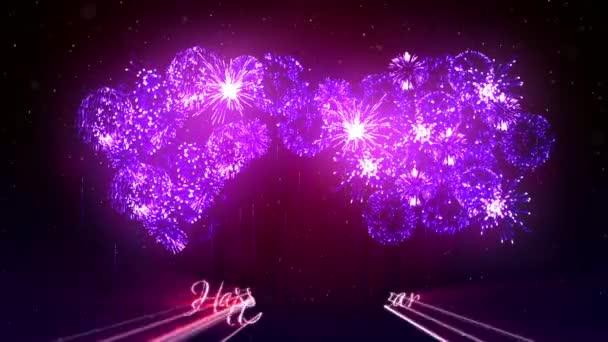 Gyönyörű lila fireworks, lézerrel mutatják a téli éjszaka ég az új év előestéjén. Gazdag lila tűzijáték Szilveszter vagy a karácsonyi ünnepek háttérként. 3D animáció pirotechnikai fény show-val snow.3