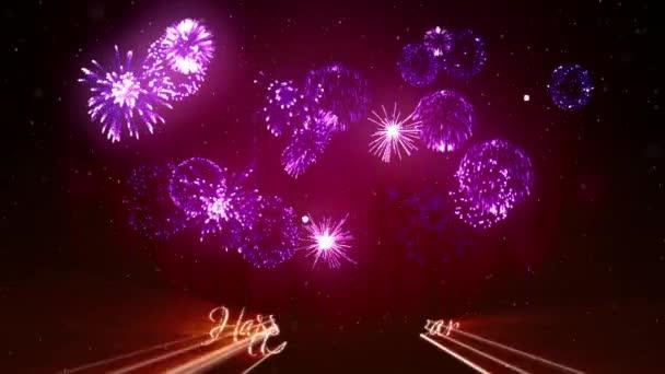 Gyönyörű lila fireworks, lézerrel mutatják a téli éjszaka ég az új év előestéjén. Gazdag lila tűzijáték Szilveszter vagy a karácsonyi ünnepek háttérként. 3D animáció pirotechnikai fény show-val snow.24