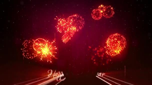wunderschönes rot-orangefarbenes Feuerwerk mit Lasershow am Winternachthimmel im neuen Jahr. Ein reichhaltiges Feuerwerk als Feiertagshintergrund für Neujahr oder Weihnachten. 3D Animation Pyrotechnische Lichtshow mit Schnee. 26