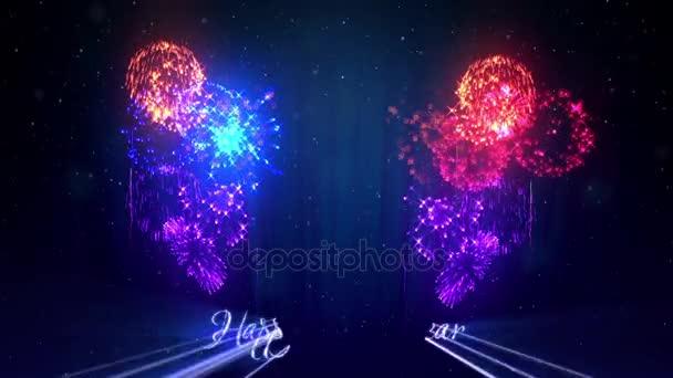 Více krásné barevné ohňostroje s laserovou show na zimní noční oblohy v předvečer nového roku. Bohatý ohňostroj jako svátky pozadí pro nový rok a Vánoce. 3D animace pyrotechnické světelnou show s snow.14