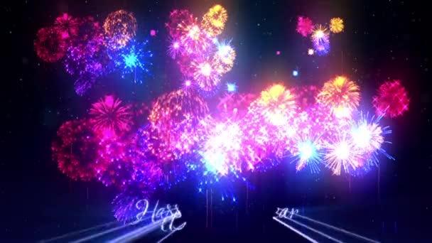 Více krásné barevné ohňostroje s laserovou show na zimní noční oblohy v předvečer nového roku. Bohatý ohňostroj jako svátky pozadí pro nový rok a Vánoce. 3D animace pyrotechnické světelnou show s snow.16