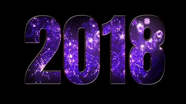 Složení nového roku 2018. Krásné fialové ohňostroje prostřednictvím nápis 2018. Světlé ohňostroje, úžasné světelnou show. V5